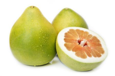 Two  whole and a half of pummelo fruit